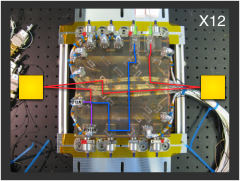 Flight optical bench with beams of the X12 interferometer overlaid.