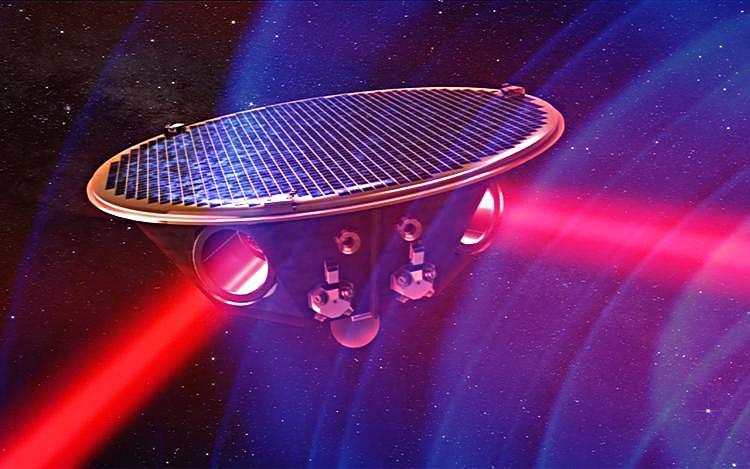 eLISA - spacecraft passing gravitational waves