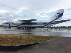 LISA Pathfinder was flown from London Stansted Airport to Cayenne Félix Eboué Airport, French Guiana, on an Antonov An-124 cargo aircraft. Copyright: ESA